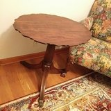 Antique Scalloped Mohagany Accent Table in Chicago, Illinois