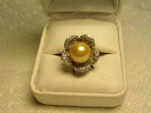 Custom Made Pearl & White Sapphire Cocktail Ring in Fort Bliss, Texas
