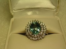 GREEN TOURMALINE & WHITE SAPPHIRE COCKTAIL RING in Fort Bliss, Texas