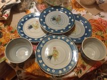 Royal Norfolk 4 10in dinner plates blue rooster 2 deep bowls dishwash micro safe in El Paso, Texas