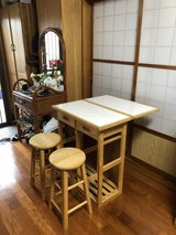 extendable table with bar stools in Okinawa, Japan