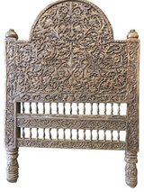 Indian Antique Vintage Headboard Intricate Jaipur Floral Carved Wood Bed Frame in Birmingham, Alabama