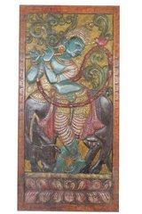 Indian Carved Sculpture Door Krishna Handmade Vintage Fluting Krishna Wall Panel in Birmingham, Alabama
