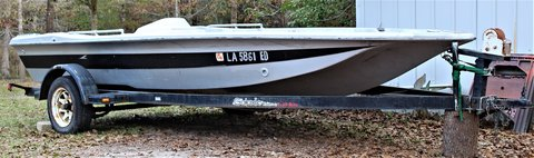 Bass boat and trailer in Fort Polk, Louisiana