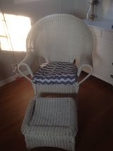 White Wicker chair and ottoman in St. Charles, Illinois