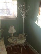 Metal side table and coat rack in St. Charles, Illinois