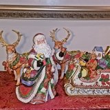 Santa And Sleigh Porcelain With Reindeer Candle Holders in Joliet, Illinois