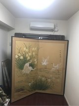 large antique painted screen in Okinawa, Japan
