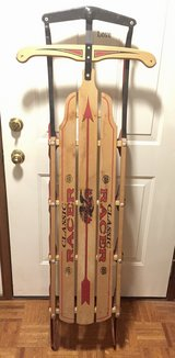 """Vintage Flexible Flyer  60"""" Classic Racer Wooden Sled Since 1889 made in Mass. in Plainfield, Illinois"""
