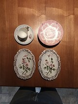 Rose dishes, tea cup and wall hangings in Alamogordo, New Mexico