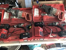 Milwaukee 18 Volt Hammer Drill Kit with 2 Batteries, Charger & Sawzall in Naperville, Illinois
