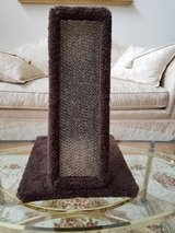 New Carpeted Wood and Heavy Duty Corrugated Cardboard Front Cat Scratching Post in Yorkville, Illinois
