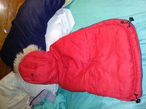 Red and navy blue hooded jacket for dogs in New Lenox, Illinois