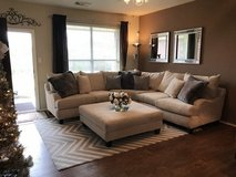 Large Sectional Sofa & Ottoman - Gallery Furniture in Kingwood, Texas