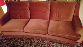 Antique Red/Orange European Couch/real feather pillows. in Fort Sam Houston, Texas