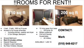 TRAVIS AFB ROOMS FOR RENT in Vacaville, California