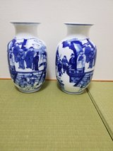 Blue and white vases in Okinawa, Japan