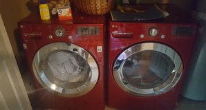 Red LG Electric Washer and Dryer in Pasadena, Texas
