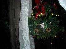 Golden metal lantern with evergreen and battery lights. in Fort Riley, Kansas