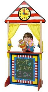 Floor Standing Wood Puppet Theater with Clock and Chalkboard by ALEX Toys in Excellent Condition in Chicago, Illinois