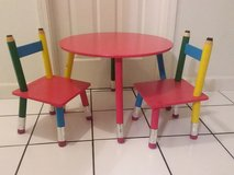 Kids pencil table and chairs plus pencil bookshelf in Bolingbrook, Illinois