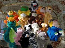 16 Assorted Hand Puppets With Carrying Bag in Chicago, Illinois