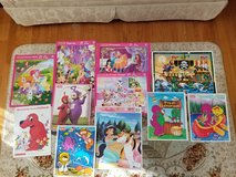 Assortment of 11 Wooden Puzzles In Tray For Your Toddler (includes Disney Princess, Clifford, Te... in Plainfield, Illinois
