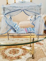 Sturdy Blue Metal 18 inch Doll Sized Canopy Bed with Canopy Curtains and two Pillows and Quilt in Naperville, Illinois