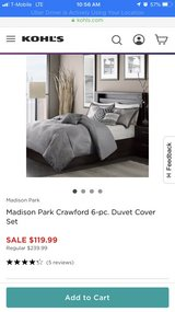 New Madison Park Crawford 7 pc King size, grey bedding set in Schaumburg, Illinois