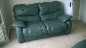 PAIR QUALITY SOFT LEATHER SOFAS/RECLINER PLUS MATCHING FOOTSTOOL/STORAGE BOX in Lakenheath, UK