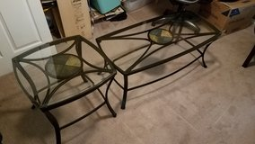 Glass coffee table and two glass end tables in Beaufort, South Carolina