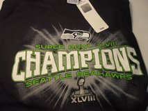 SEATTLE SEAHAWKS XLVIII CHAMPIONS Adult T-Shirts (Navy & Neon / 4 sizes) *** NEW in Fort Lewis, Washington