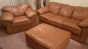 Couch/leather-Chair-Ottoman in Naperville, Illinois