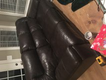3 seater leather brown couch in Camp Lejeune, North Carolina