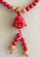 Red Bamboo Coral Buddha Necklace Bracelet NEW in Okinawa, Japan
