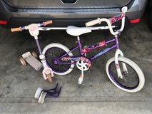 "Kids 16"" bike with training wheels & scooter in Warner Robins, Georgia"