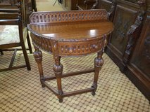 Demi Lune carved oak Table with draw in Lakenheath, UK