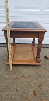 Beveled, Tented Glass Solid Oak End Table in Camp Lejeune, North Carolina