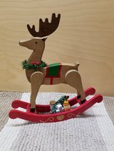 Wooden rocking reindeer decor in Bolingbrook, Illinois