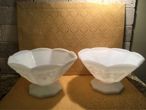 Set of Two Milk Glass Bowl with the grape vine pattern-9 inches across 5.5 inches tall in Lackland AFB, Texas