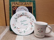 Pfaltzgraff Cookies and milk for santa plate and mug in Bolingbrook, Illinois