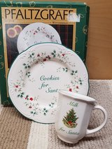 Pfaltzgraff cookies for santa plate and mug in Plainfield, Illinois