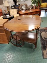 Antique solid wood fold down tea cart on wheels in Chicago, Illinois