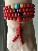 New Red Bamboo Coral Necklace / Bracelet w/Buddha Charm in Okinawa, Japan