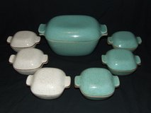 Glidden MCM Pottery Fong Chow Roaster & 6 Mini Casserole Dishes in Plainfield, Illinois