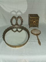 Ornate vintage Vanity Set 4pc Brass / Cherubs & Flowers in Westmont, Illinois