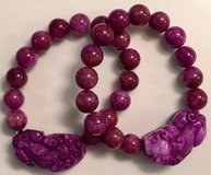Agate Purple Bracelet w/Shisa Charm NEW in Okinawa, Japan
