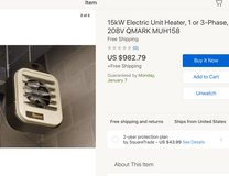 Electric Shop Heater 51K BTU $982 new in Alamogordo, New Mexico