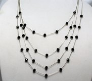 "NWT Black Bead 26"" Silver Tone Multi Stand Statement Necklace Pendant Chain in Houston, Texas"