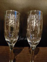 Bride and groom etched flute glasses in Vacaville, California